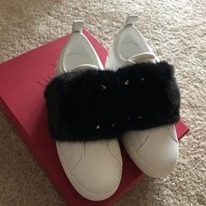 Valentino Leather and Mink Fur Sneakers 35